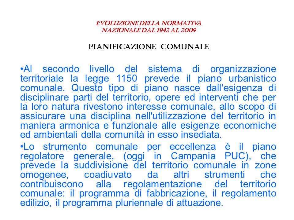 Evoluzione della normativa nazionale dal 1942 al 2009 PIANIFICAZIONE COMUNALE Al secondo livello del sistema di organizzazione territoriale la legge 1