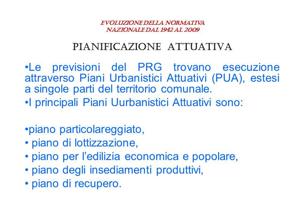 Evoluzione della normativa nazionale dal 1942 al 2009 PIANIFICAZIONE ATTUATIVA Le previsioni del PRG trovano esecuzione attraverso Piani Urbanistici A