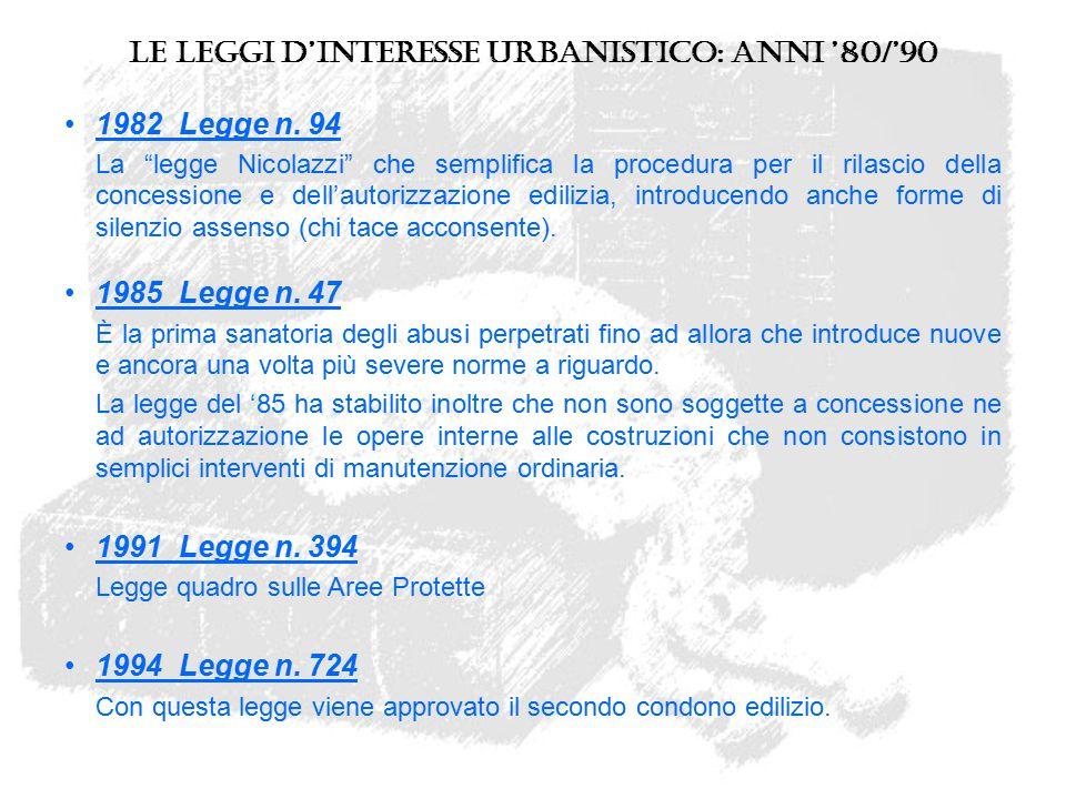 """Le leggi d'interesse urbanistico: anni '80/'90 1982 Legge n. 94 La """"legge Nicolazzi"""" che semplifica la procedura per il rilascio della concessione e d"""