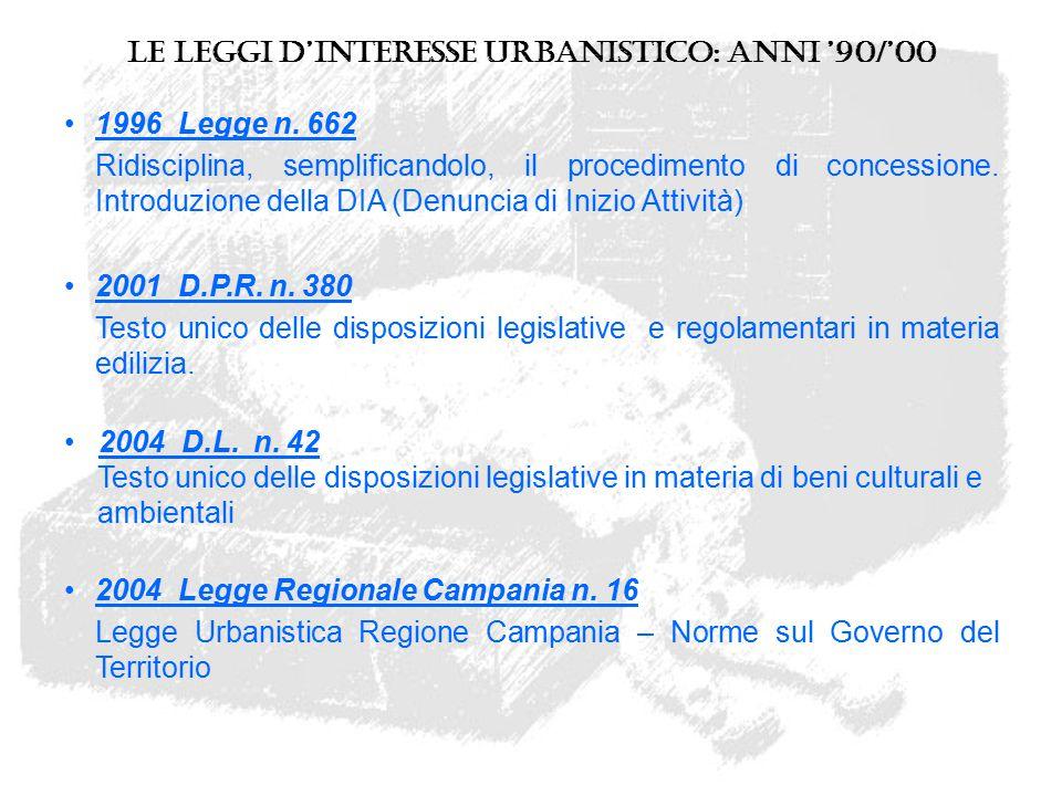 Le leggi d'interesse urbanistico: anni '90/'00 1996 Legge n. 662 Ridisciplina, semplificandolo, il procedimento di concessione. Introduzione della DIA