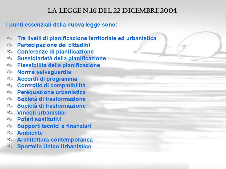 La legge n.16 del 22 Dicembre 2004 I punti essenziali della nuova legge sono: Tre livelli di pianificazione territoriale ed urbanistica Partecipazione