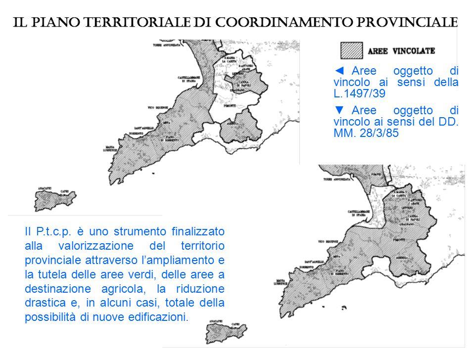 ◄Aree oggetto di vincolo ai sensi della L.1497/39 ▼Aree oggetto di vincolo ai sensi del DD. MM. 28/3/85 Il Piano territoriale di Coordinamento Provinc