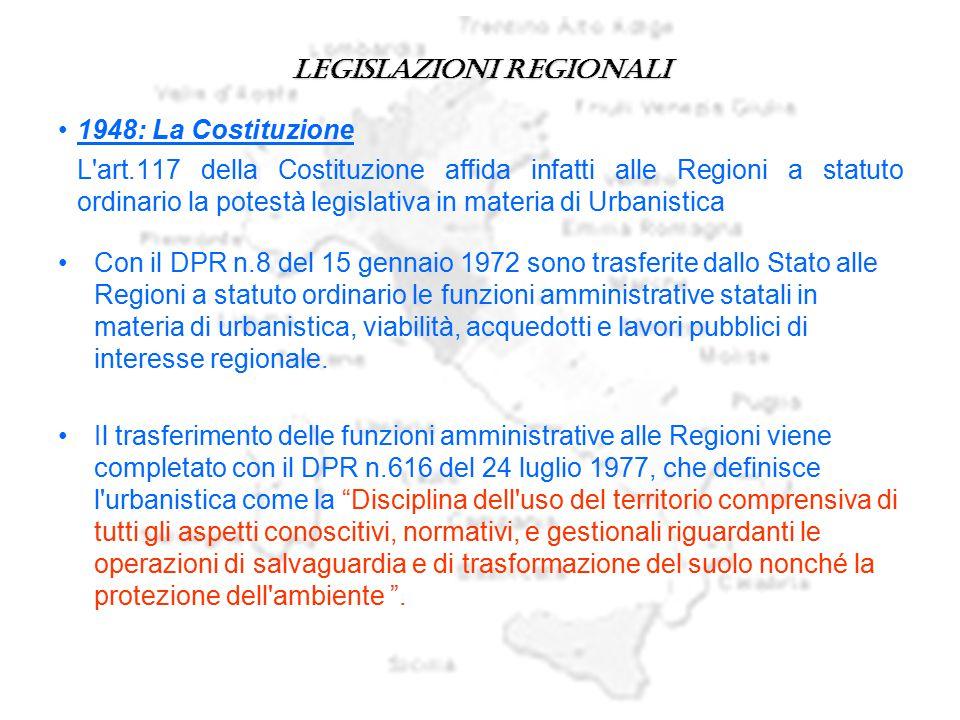 Legislazioni regionali 1948: La Costituzione L'art.117 della Costituzione affida infatti alle Regioni a statuto ordinario la potestà legislativa in ma