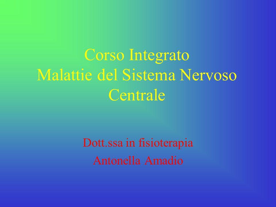 Corso Integrato Malattie del Sistema Nervoso Centrale Dott.ssa in fisioterapia Antonella Amadio