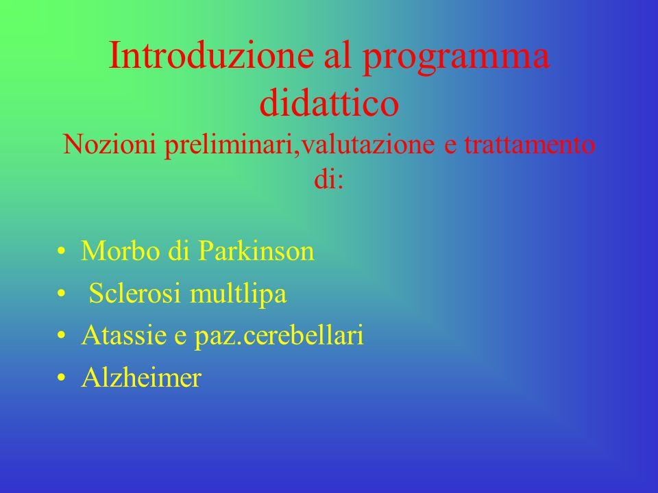 Introduzione al programma didattico Nozioni preliminari,valutazione e trattamento di: Morbo di Parkinson Sclerosi multlipa Atassie e paz.cerebellari A