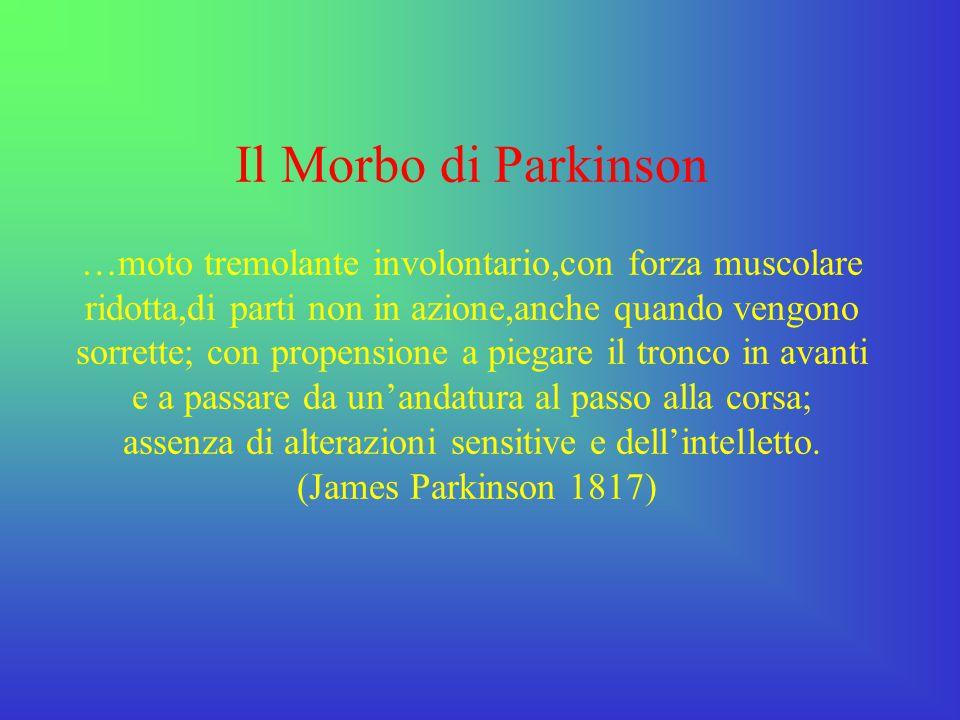 Il Morbo di Parkinson è caratterizzato dalla degenerazione della sostanza nigra striatale dei nuclei della base(spopolamento neuronale) che comporta una notevole riduzione nella produzione della dopamina.