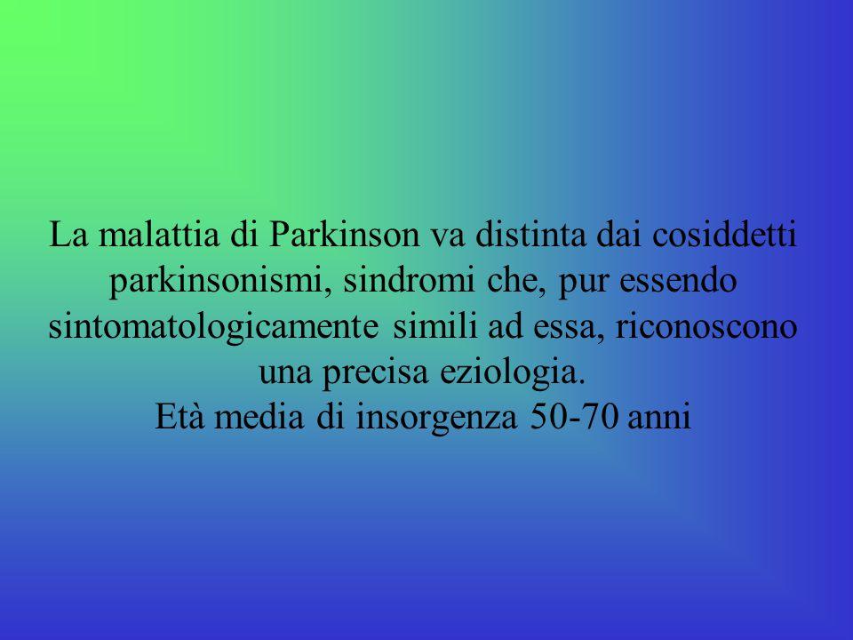 La malattia di Parkinson va distinta dai cosiddetti parkinsonismi, sindromi che, pur essendo sintomatologicamente simili ad essa, riconoscono una prec