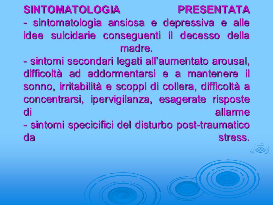 SINTOMATOLOGIA PRESENTATA - sintomatologia ansiosa e depressiva e alle idee suicidarie conseguenti il decesso della madre. - sintomi secondari legati