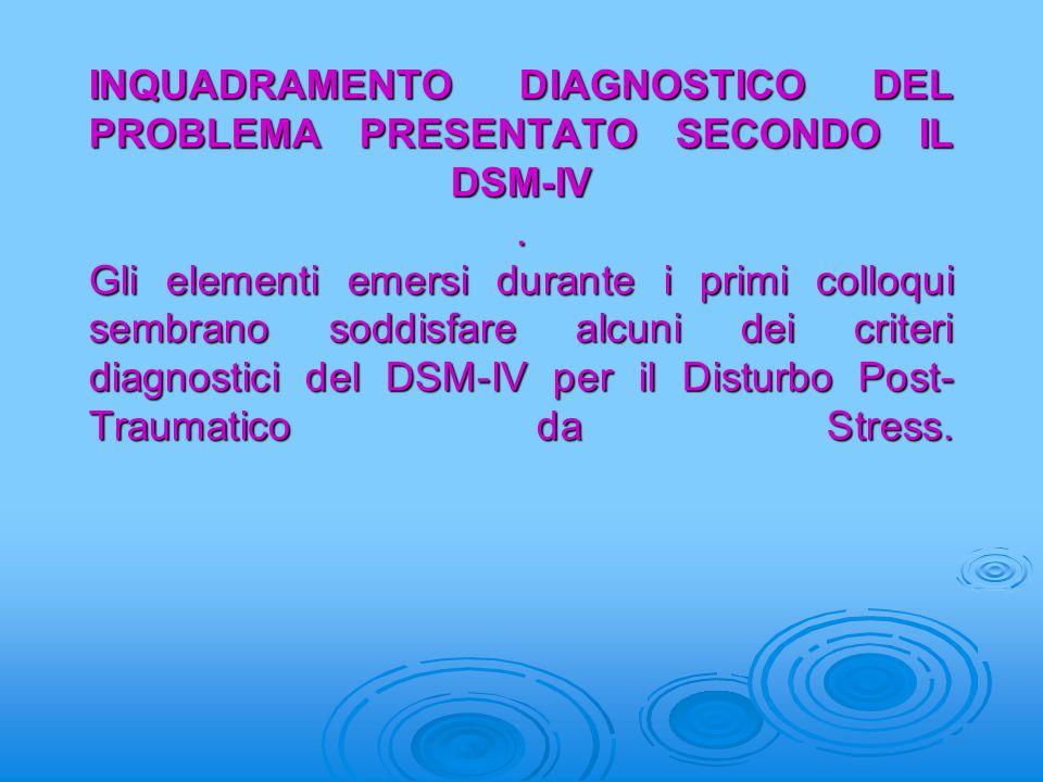 INQUADRAMENTO DIAGNOSTICO DEL PROBLEMA PRESENTATO SECONDO IL DSM-IV. Gli elementi emersi durante i primi colloqui sembrano soddisfare alcuni dei crite