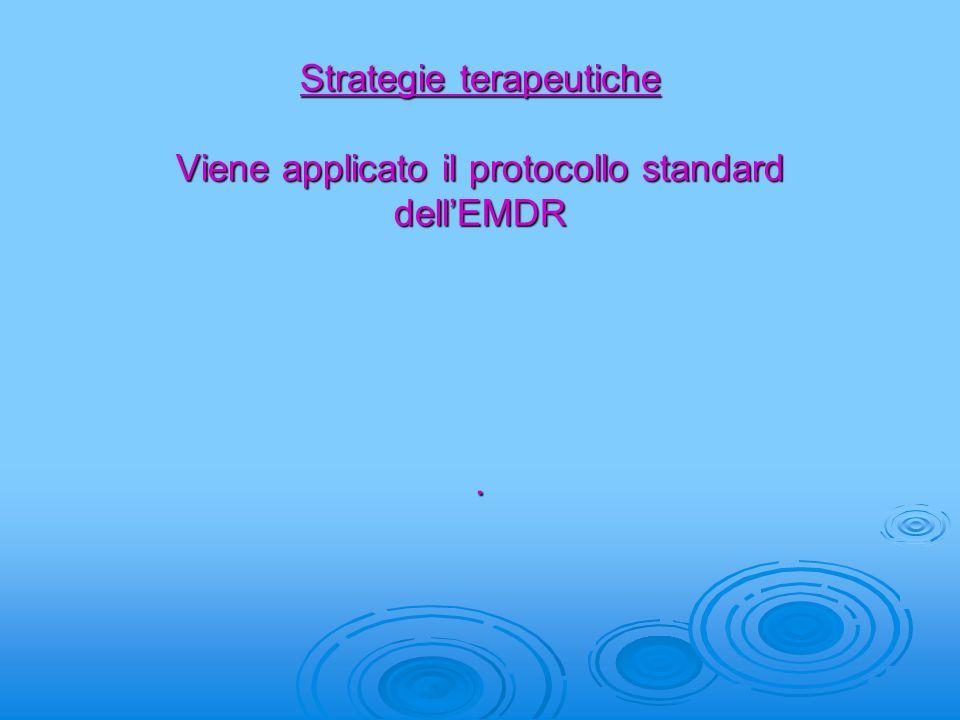Strategie terapeutiche Viene applicato il protocollo standard dell'EMDR.