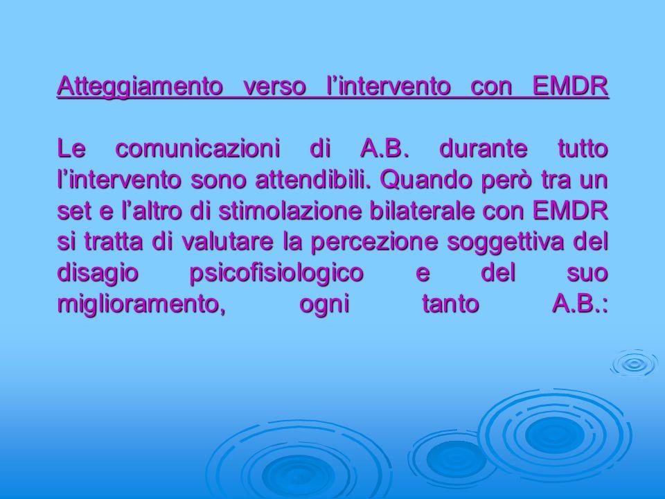 Atteggiamento verso l'intervento con EMDR Le comunicazioni di A.B. durante tutto l'intervento sono attendibili. Quando però tra un set e l'altro di st