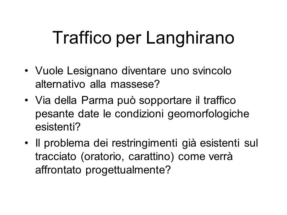 Traffico per Langhirano Vuole Lesignano diventare uno svincolo alternativo alla massese.