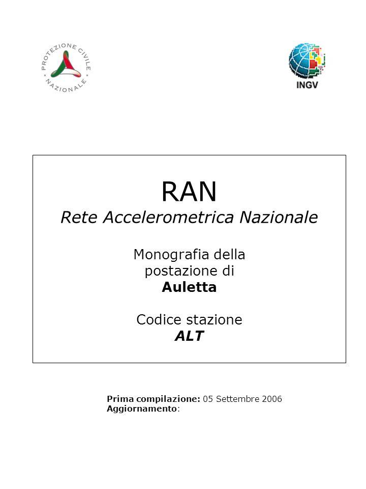 RAN Rete Accelerometrica Nazionale Monografia della postazione di Auletta Codice stazione ALT Prima compilazione: 05 Settembre 2006 Aggiornamento: Logo RAN