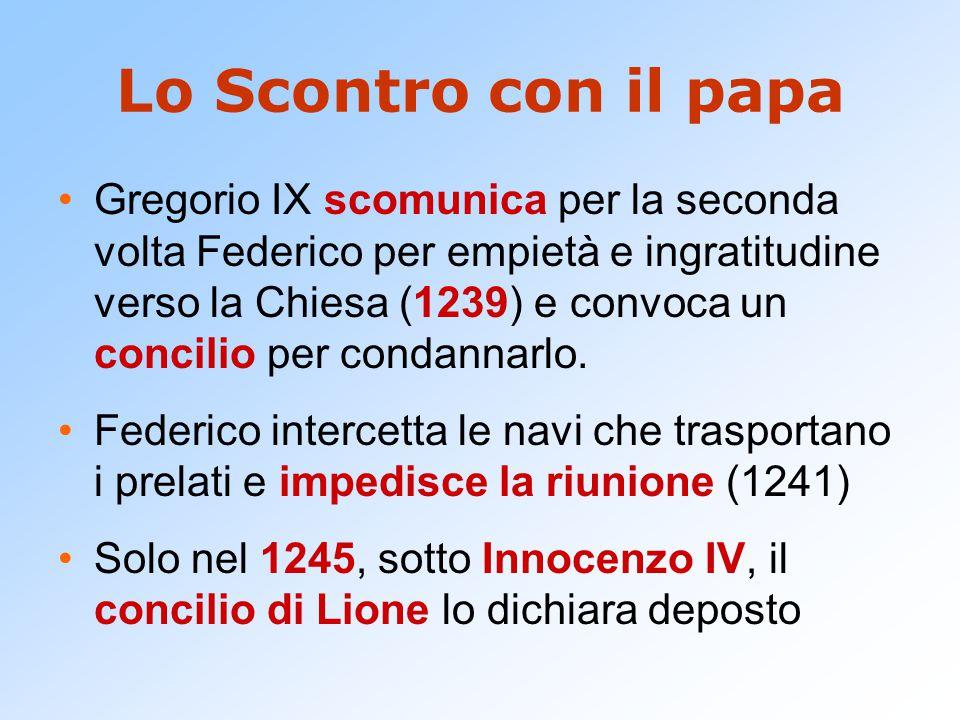 Lo Scontro con il papa Gregorio IX scomunica per la seconda volta Federico per empietà e ingratitudine verso la Chiesa (1239) e convoca un concilio per condannarlo.