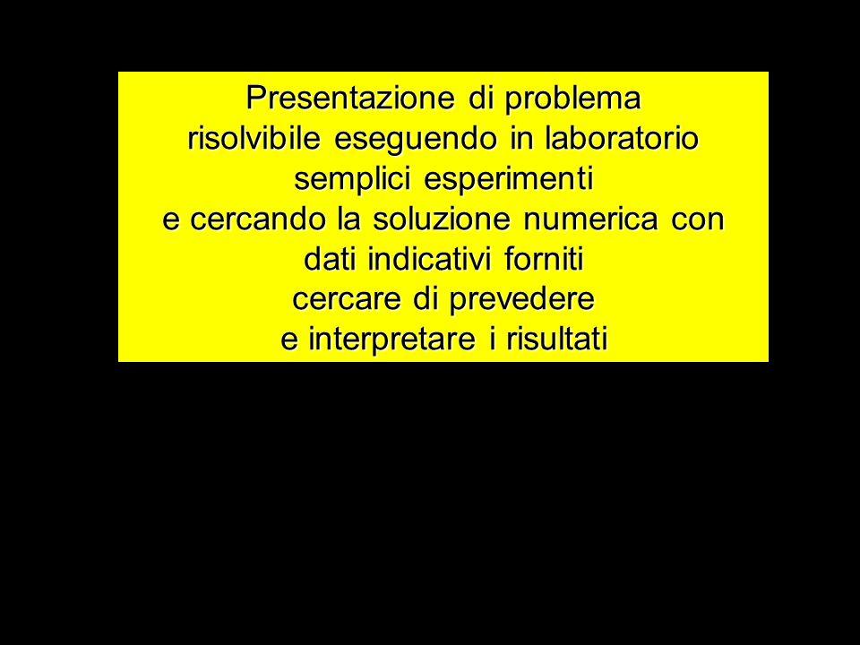 Presentazione di problema risolvibile eseguendo in laboratorio semplici esperimenti e cercando la soluzione numerica con dati indicativi forniti cerca