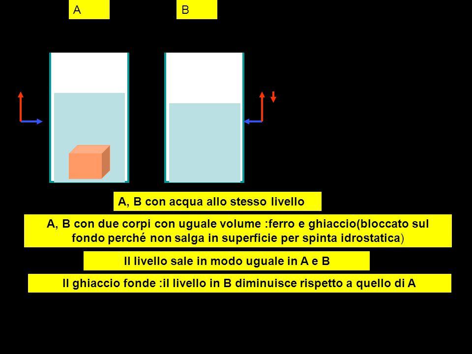 ab1b2 b3 a,b recipienti con uguale quantita di acqua : uguale livello iniziale A : corpo (1000 cc) immerso provoca innalzamento di livello B1 : contenitore elastico impermeabile contiene acqua(1000 cc): immerso provoca innalzamento di livello come in A B2 :si produce formazione di ghiaccio (solo entro contenitore) che aumenta il volume (1100 cc) e innalza il livello > A B3:si produce fusione del ghiaccio con riduzione di volume:il livello scende perché l'acqua sovrastante ritorna a occupare ll volume laciato disponibile