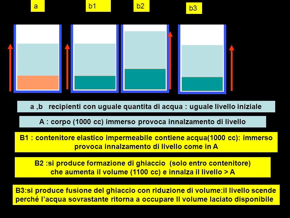 AB A:B contengono uguale volume di acqua:stesso livello A,verso 1000 grammi (1000 cc) di acqua:sale il livello B:introduco ghiaccio 1000 grammi (1100 cc):sale il livello più che in A B :fusione del ghiaccio e riduzione di volume:scende il livello A e B con uguale livello finale La massa d'acqua fornita è uguale nei due contenitori anche se inizialmente i volumi sono diversi (e quindi diverso l'effetto sull'innalzamentodi livello): alla fine entrambi i recipienti contengono la stessa massa di acqua (liquida) e quindi lo stesso volume:segue uguale innalzamento del livello finale