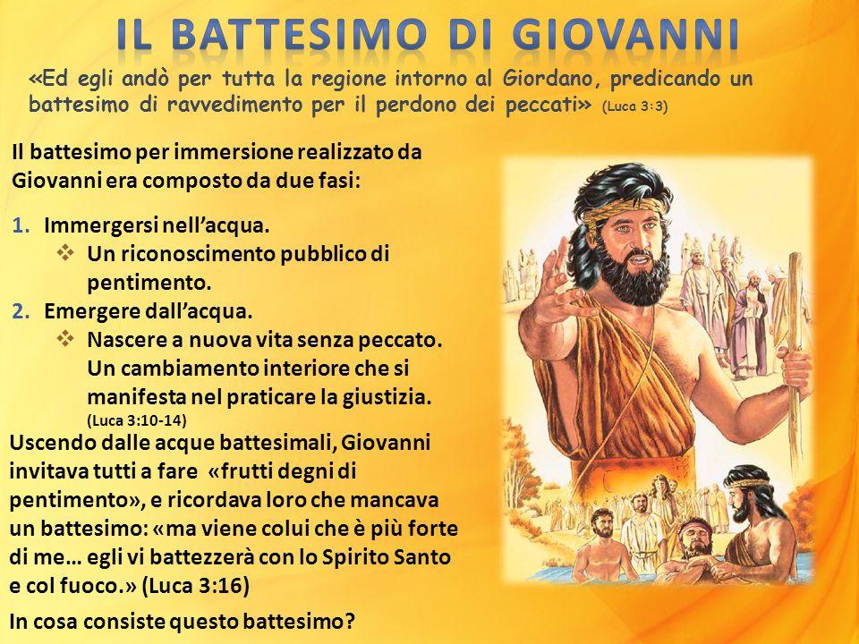 «Ed egli andò per tutta la regione intorno al Giordano, predicando un battesimo di ravvedimento per il perdono dei peccati» (Luca 3:3) Il battesimo pe