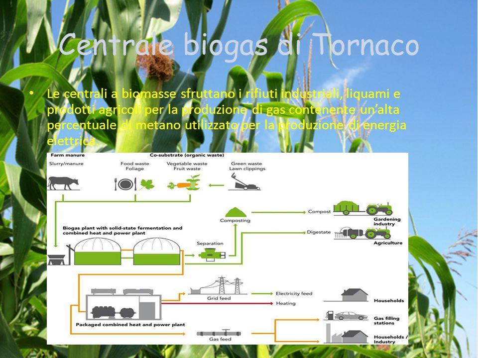 Centrale biogas di Tornaco Le centrali a biomasse sfruttano i rifiuti industriali, liquami e prodotti agricoli per la produzione di gas contenente un'alta percentuale di metano utilizzato per la produzione di energia elettrica.