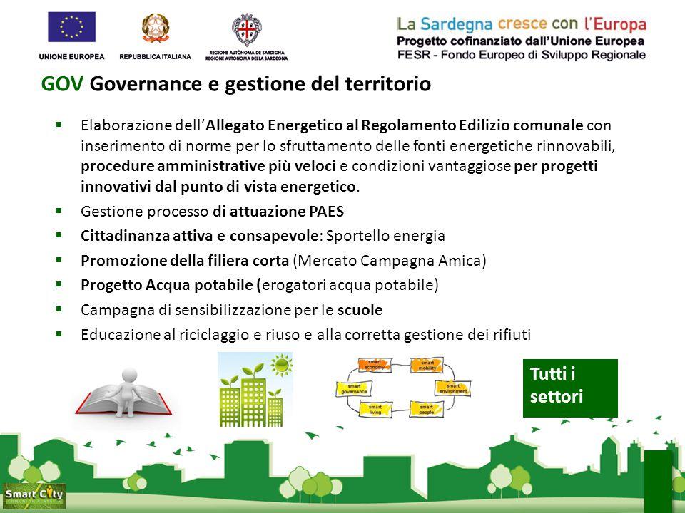 GOV Governance e gestione del territorio  Elaborazione dell'Allegato Energetico al Regolamento Edilizio comunale con inserimento di norme per lo sfru