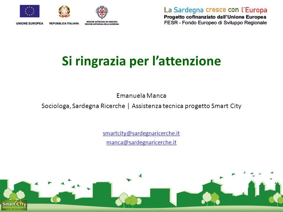 Si ringrazia per l'attenzione Emanuela Manca Sociologa, Sardegna Ricerche | Assistenza tecnica progetto Smart City smartcity@sardegnaricerche.it manca