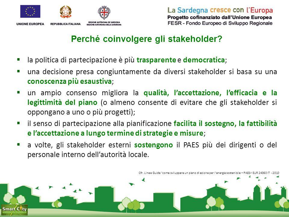 Perché coinvolgere gli stakeholder?  la politica di partecipazione è più trasparente e democratica;  una decisione presa congiuntamente da diversi s