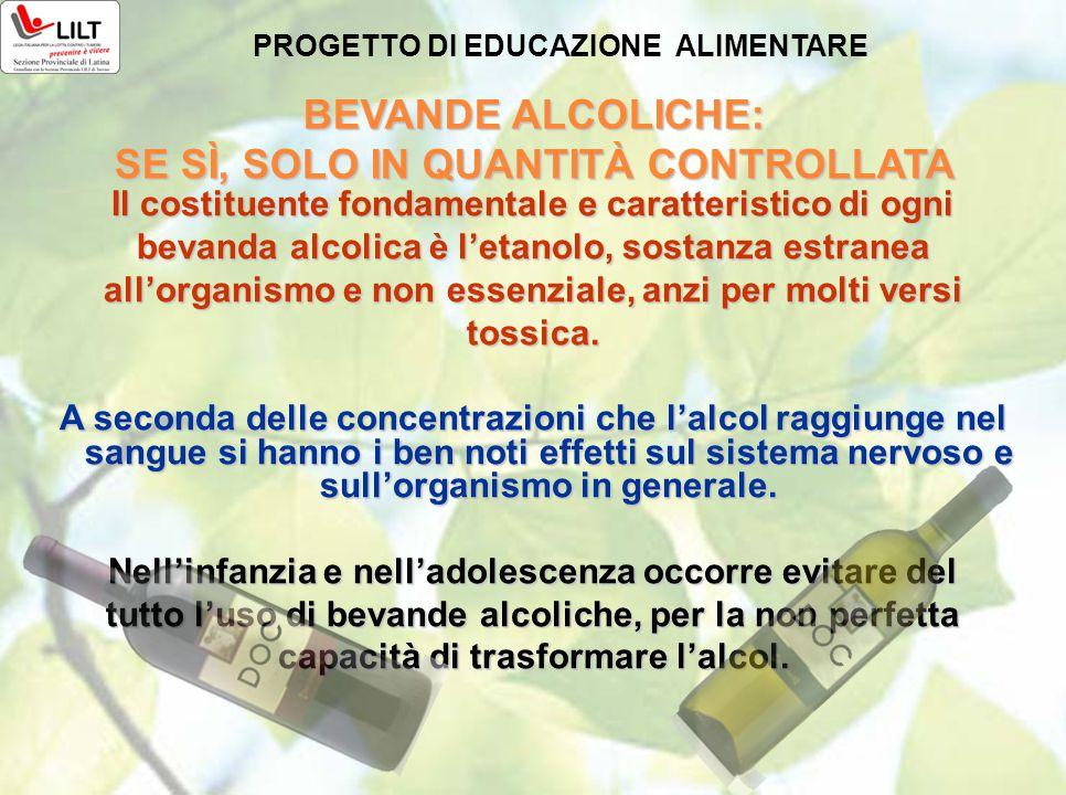 BEVANDE ALCOLICHE: SE SÌ, SOLO IN QUANTITÀ CONTROLLATA PROGETTO DI EDUCAZIONE ALIMENTARE Il costituente fondamentale e caratteristico di ogni bevanda