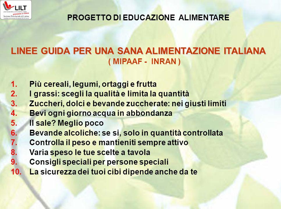 LINEE GUIDA PER UNA SANA ALIMENTAZIONE ITALIANA ( MIPAAF - INRAN ) 1.Più cereali, legumi, ortaggi e frutta 2.I grassi: scegli la qualità e limita la q