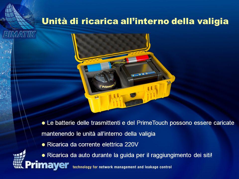 Unità di ricarica all'interno della valigia l Le batterie delle trasmittenti e del PrimeTouch possono essere caricate mantenendo le unità all'interno della valigia l Ricarica da corrente elettrica 220V l Ricarica da auto durante la guida per il raggiungimento dei siti!