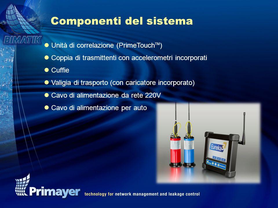 l Unità di correlazione (PrimeTouch TM ) l Coppia di trasmittenti con accelerometri incorporati l Cuffie l Valigia di trasporto (con caricatore incorporato) l Cavo di alimentazione da rete 220V l Cavo di alimentazione per auto Componenti del sistema