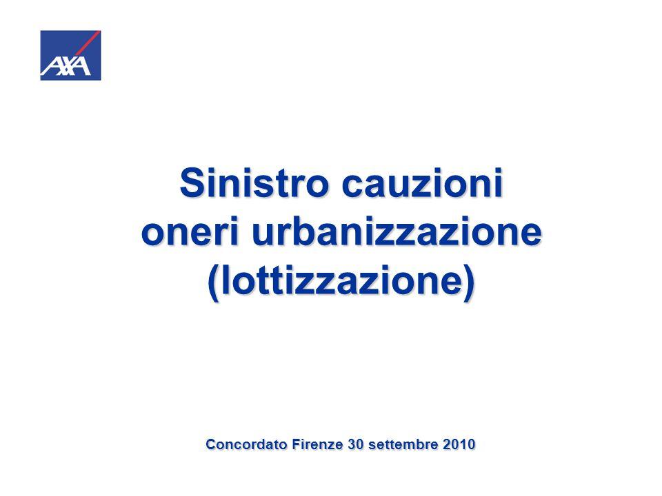 Sinistro cauzioni oneri urbanizzazione (lottizzazione) Convenzione 17/09/2008 (esecuzione piano lottizzazione residenziale) Lottizzanti (proprietari di 38406 mq): 13 persone fisiche + 3 persone giuridiche.