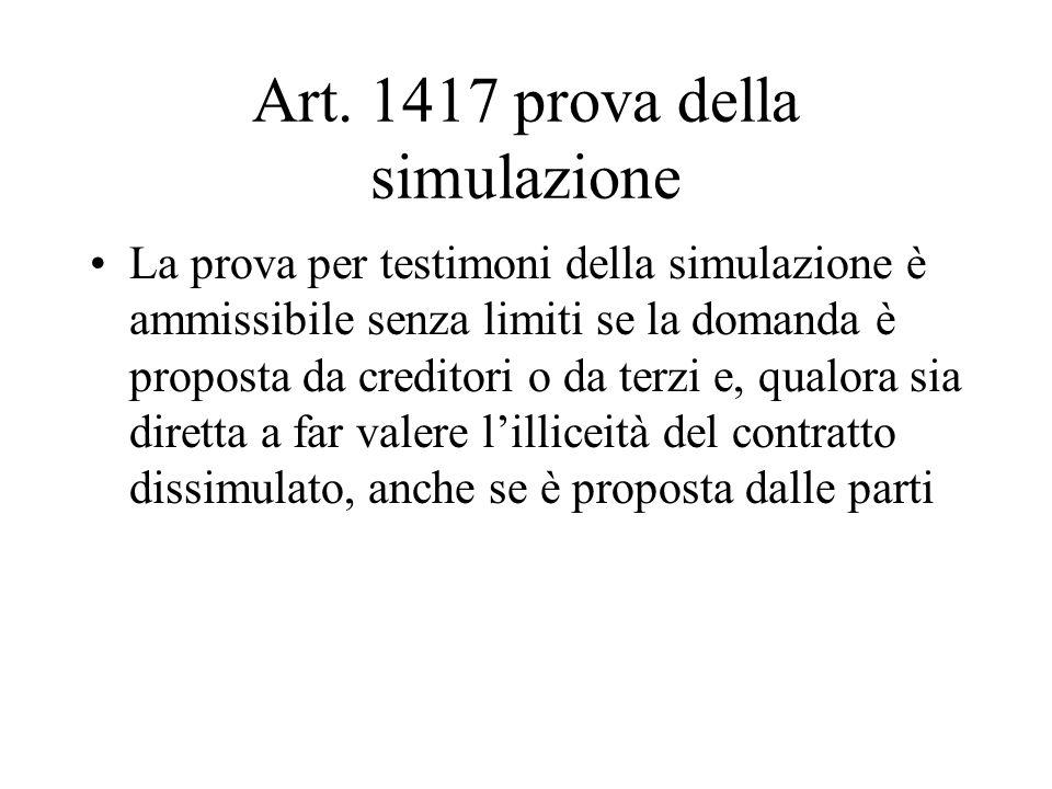 Art. 1417 prova della simulazione La prova per testimoni della simulazione è ammissibile senza limiti se la domanda è proposta da creditori o da terzi