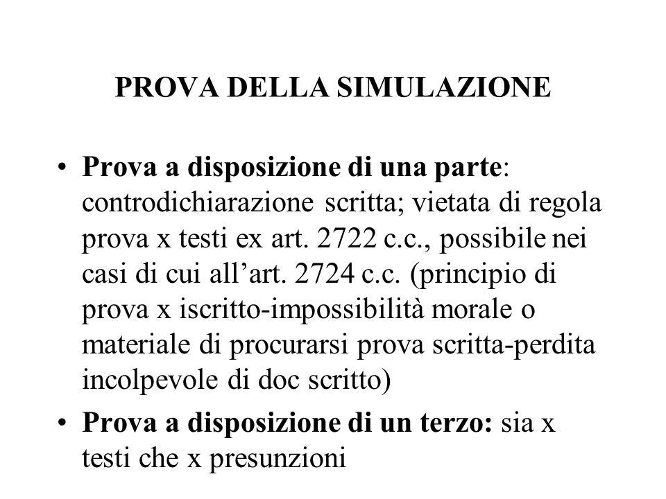 PROVA DELLA SIMULAZIONE Prova a disposizione di una parte: controdichiarazione scritta; vietata di regola prova x testi ex art. 2722 c.c., possibile n