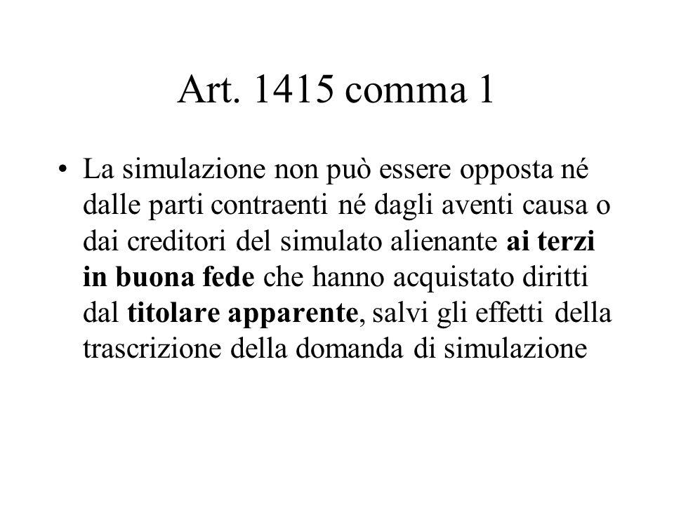 Art. 1415 comma 1 La simulazione non può essere opposta né dalle parti contraenti né dagli aventi causa o dai creditori del simulato alienante ai terz