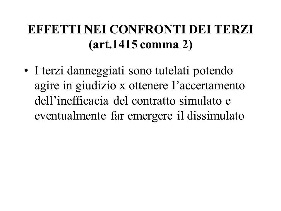 EFFETTI NEI CONFRONTI DEI TERZI (art.1415 comma 2) I terzi danneggiati sono tutelati potendo agire in giudizio x ottenere l'accertamento dell'ineffica