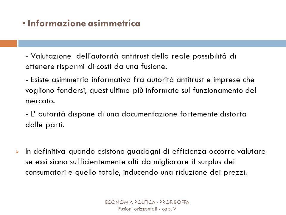 Informazione asimmetrica ECONOMIA POLITICA - PROF. BOFFA Fusioni orizzontali - cap. V - Valutazione dell'autorità antitrust della reale possibilità di
