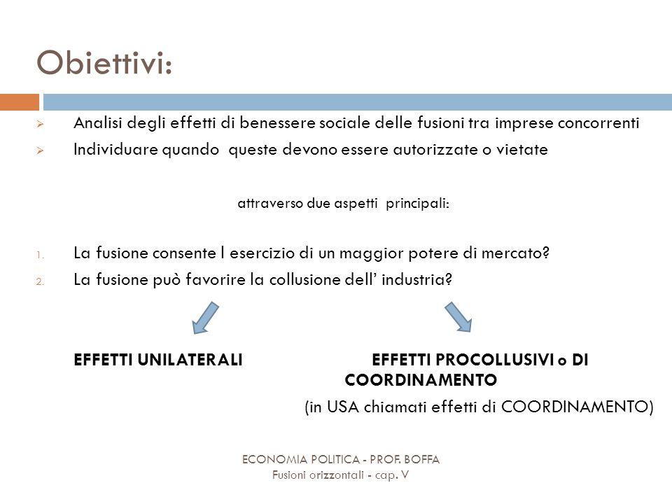 Obiettivi: ECONOMIA POLITICA - PROF. BOFFA Fusioni orizzontali - cap. V  Analisi degli effetti di benessere sociale delle fusioni tra imprese concorr