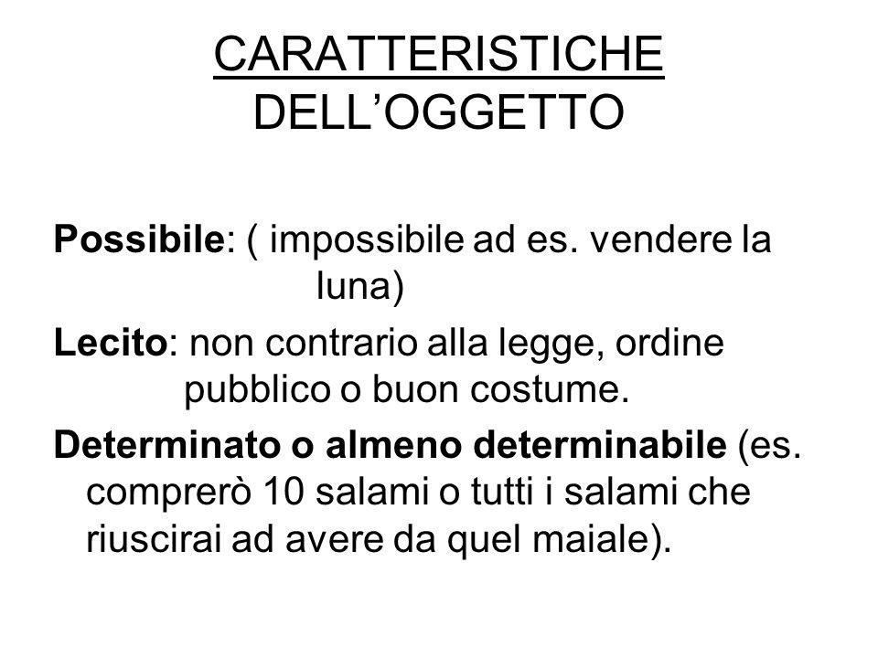 CARATTERISTICHE DELL'OGGETTO Possibile: ( impossibile ad es.