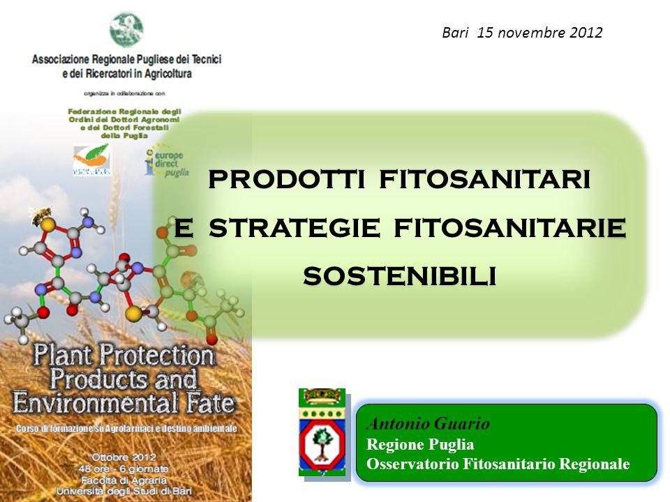 PRODOTTI FITOSANITARI E STRATEGIE FITOSANITARIE SOSTENIBILI Antonio Guario Regione Puglia Osservatorio Fitosanitario Regionale Bari 15 novembre 2012