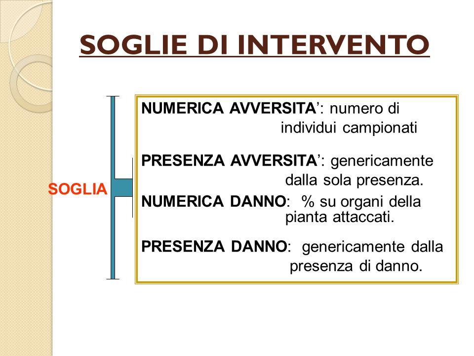 SOGLIE DI INTERVENTO SOGLIA NUMERICA AVVERSITA': numero di individui campionati PRESENZA AVVERSITA': genericamente dalla sola presenza.