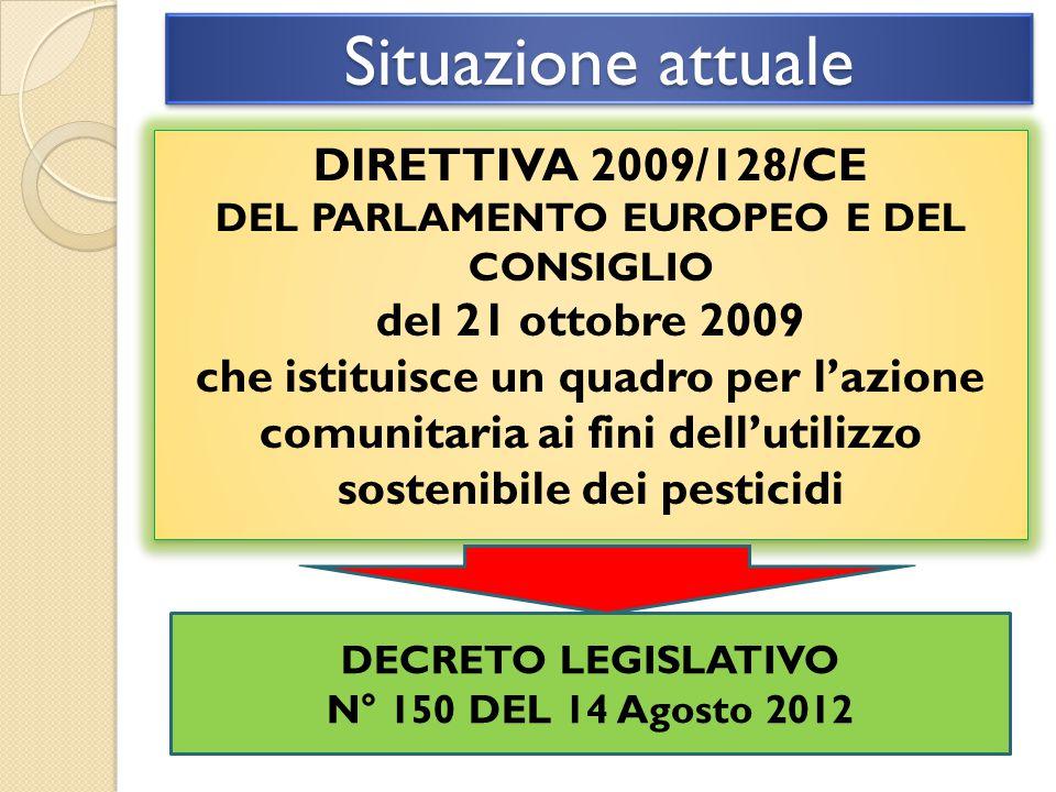 Situazione attuale DIRETTIVA 2009/128/CE DEL PARLAMENTO EUROPEO E DEL CONSIGLIO del 21 ottobre 2009 che istituisce un quadro per l'azione comunitaria ai fini dell'utilizzo sostenibile dei pesticidi DIRETTIVA 2009/128/CE DEL PARLAMENTO EUROPEO E DEL CONSIGLIO del 21 ottobre 2009 che istituisce un quadro per l'azione comunitaria ai fini dell'utilizzo sostenibile dei pesticidi DECRETO LEGISLATIVO N° 150 DEL 14 Agosto 2012