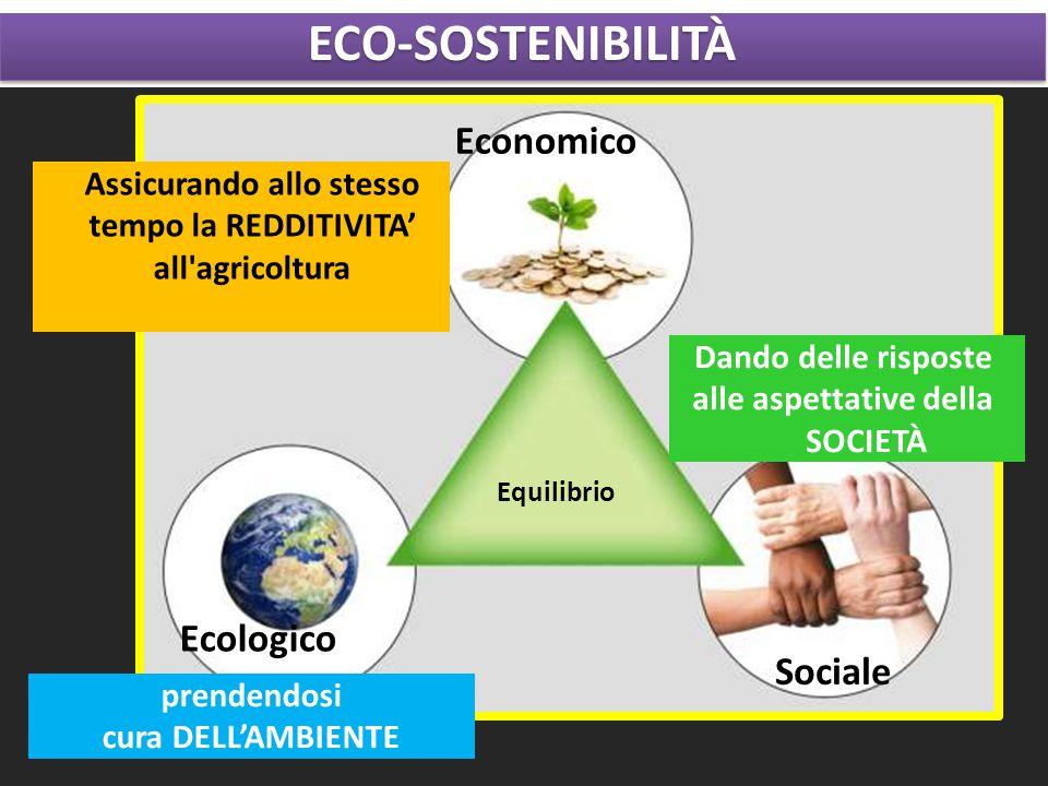 Ecologico Sociale Equilibrio Economico Dando delle risposte alle aspettative della SOCIETÀ prendendosi cura DELL'AMBIENTE Assicurando allo stesso tempo la REDDITIVITA' all agricoltura ECO-SOSTENIBILITÀECO-SOSTENIBILITÀ