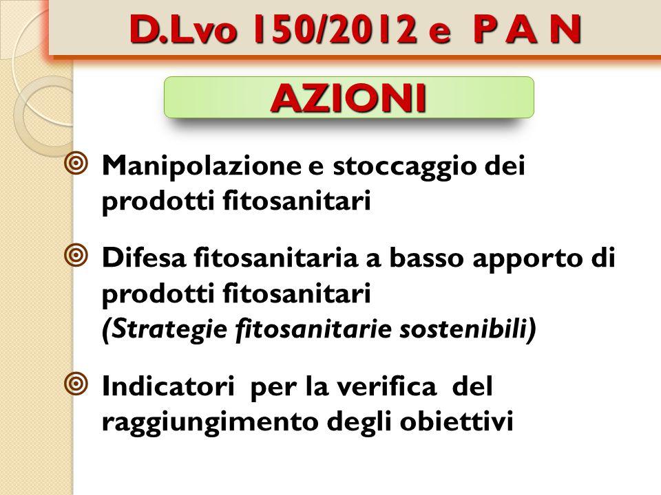  Manipolazione e stoccaggio dei prodotti fitosanitari  Difesa fitosanitaria a basso apporto di prodotti fitosanitari (Strategie fitosanitarie sostenibili)  Indicatori per la verifica del raggiungimento degli obiettivi AZIONI D.Lvo 150/2012 e P A N