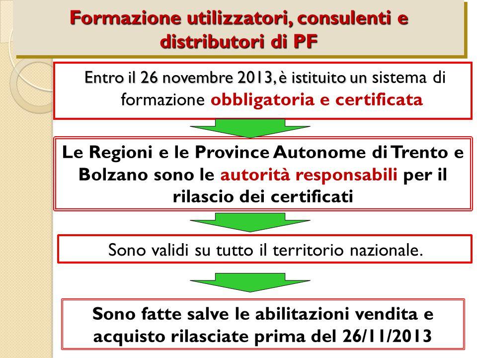 Entro il 26 novembre 2013, è istituito un Entro il 26 novembre 2013, è istituito un sistema di formazione obbligatoria e certificata Formazione utilizzatori, consulenti e distributori di PF Le Regioni e le Province Autonome di Trento e Bolzano sono le autorità responsabili per il rilascio dei certificati Sono validi su tutto il territorio nazionale.
