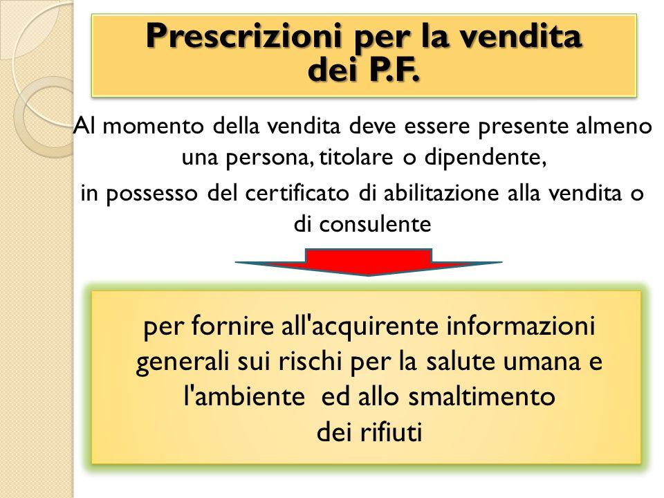 Al momento della vendita deve essere presente almeno una persona, titolare o dipendente, in possesso del certificato di abilitazione alla vendita o di consulente Prescrizioni per la vendita dei P.F.