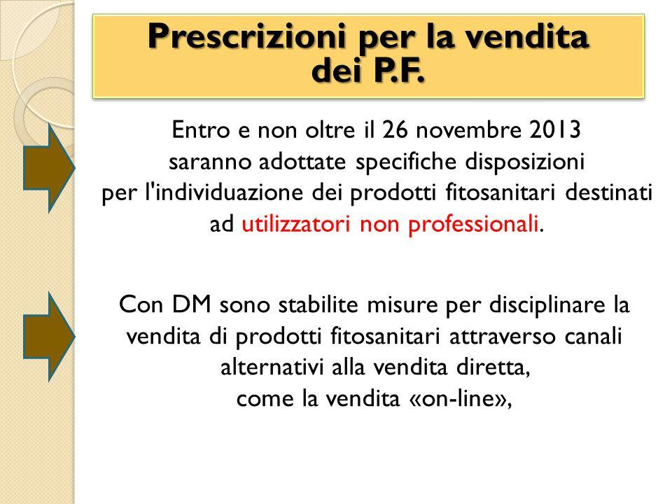 Prescrizioni per la vendita dei P.F.Prescrizioni per la vendita dei P.F.
