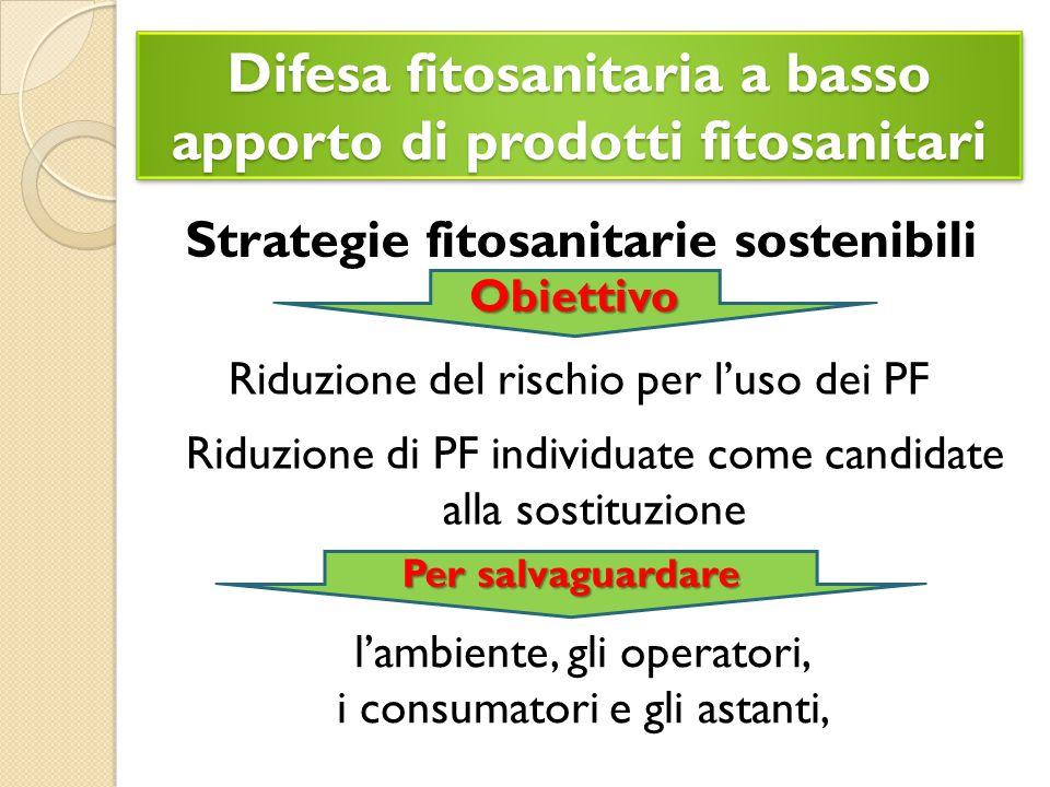 Difesa fitosanitaria a basso apporto di prodotti fitosanitari Strategie fitosanitarie sostenibili Obiettivo Riduzione del rischio per l'uso dei PF l'ambiente, gli operatori, i consumatori e gli astanti, Per salvaguardare Riduzione di PF individuate come candidate alla sostituzione
