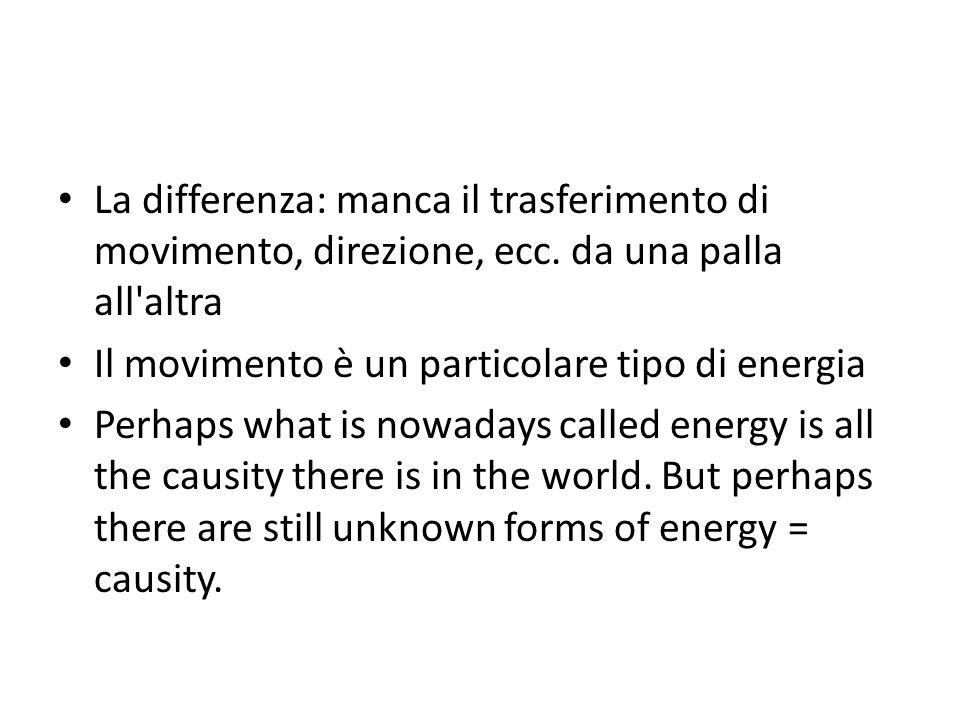 La differenza: manca il trasferimento di movimento, direzione, ecc. da una palla all'altra Il movimento è un particolare tipo di energia Perhaps what