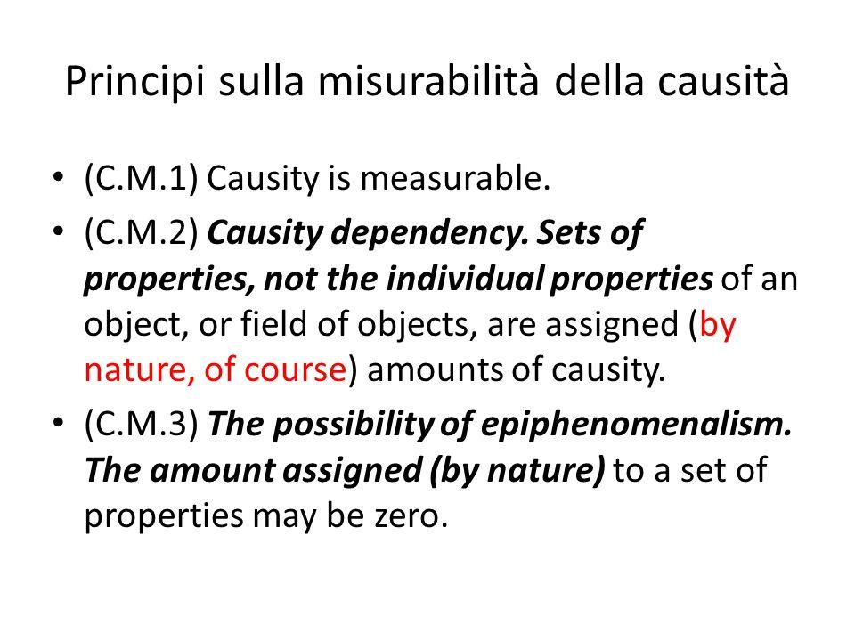 Principi sulla misurabilità della causità (C.M.1) Causity is measurable. (C.M.2) Causity dependency. Sets of properties, not the individual properties