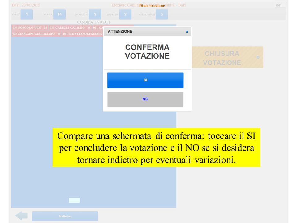 Compare una schermata di conferma: toccare il SI per concludere la votazione e il NO se si desidera tornare indietro per eventuali variazioni.